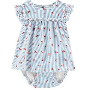 Carter's Baby Girl Striped Floral Jersey Sunsuit